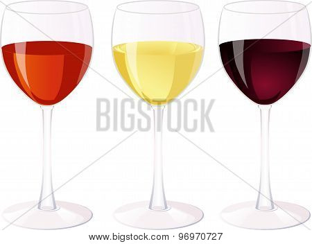 Three glasses of wine.