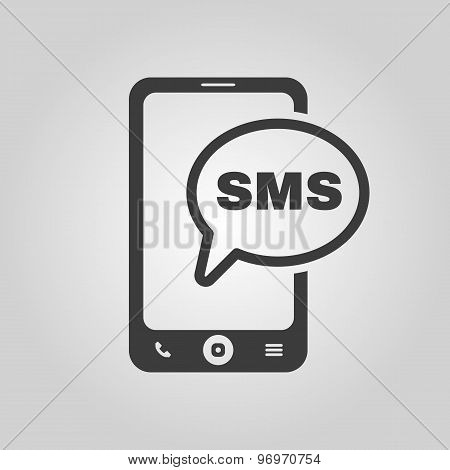 The sms icon. Smartphone and telephone, communication, message symbol. Flat