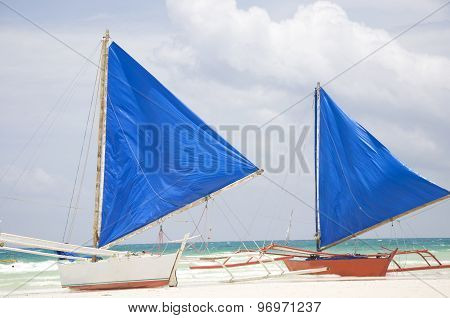 Traditional Sailboats on Boracay beach in Philippines