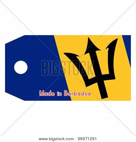 Vector Illustration Of Barbados Flag On Price Tag With Word Made In Barbados Da India Isolated On Wh