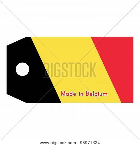 Vector Illustration Of Belgium Flag On Price Tag With Word Made In Belgium Isolated On White Backgro