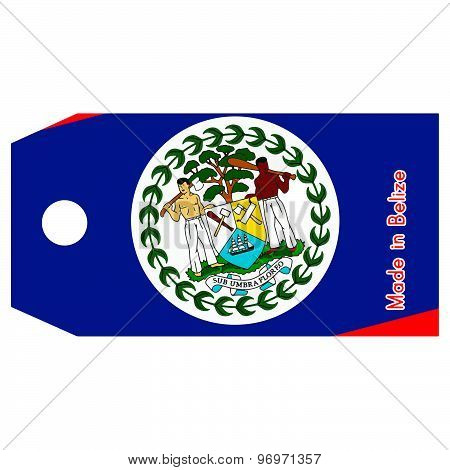 Vector Illustration Of Belize Flag On Price Tag With Word Made In Belize Isolated On White Backgroun