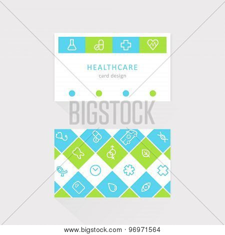 Medical and Health Care Business Card. Lined Icons Design