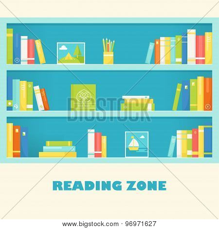 Shelves with Books and Pictures. Reading Zone Sign