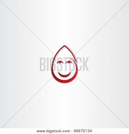 Happy Drop Blood Funny Face Icon