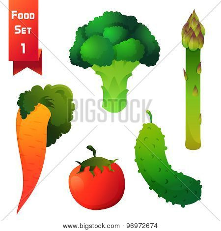 Set of juicy vegetables, green broccoli and asparagus with carrot, red tomato and cucumber isolated