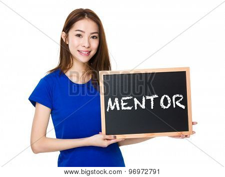 Student hold with wooden chalkboard showing a word mentor