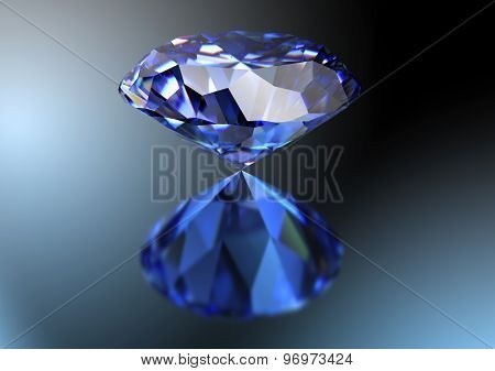 Blue Diamond Isolated On White Background With Clipping Path