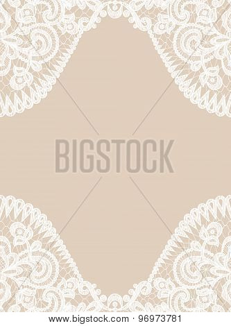 lace border on beige background