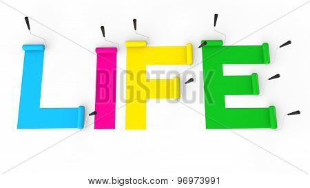 3d paint rollers painting word life