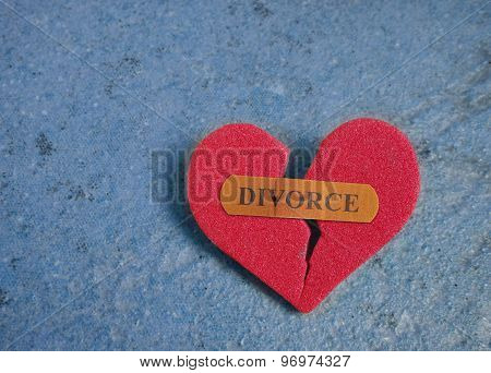 Broken Red Divorce Heart