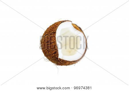 Half Of Brown Coconut Isolated On White Background