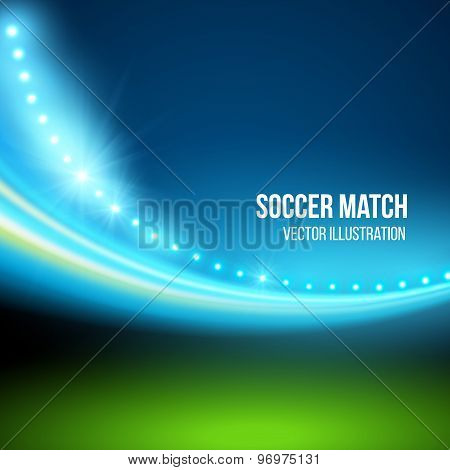 Soccer match, stadium. Vector illustration