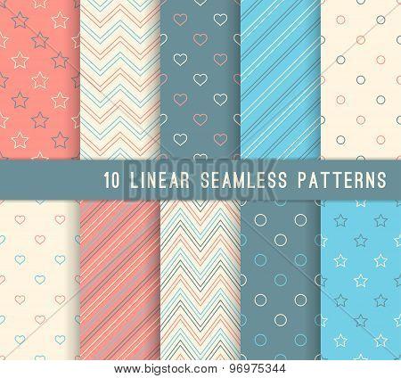 Ten Different Linear Seamless Patterns.
