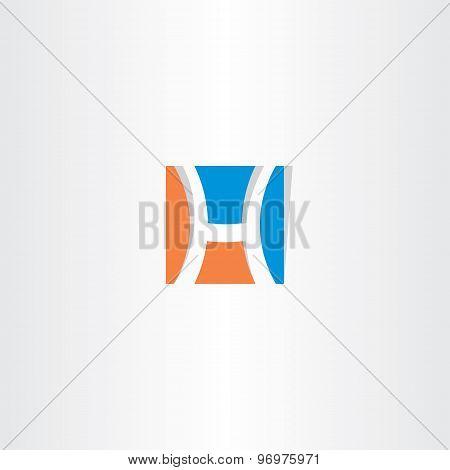 Blue Orange Square Logo Letter H Icon