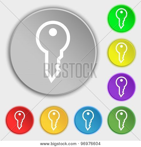 Key Icon Sign. Symbol On Eight Flat Buttons. Vector