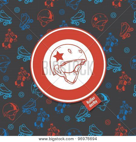 roller skate seamless pattern with roller derby icon