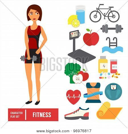 Fitness character set. Vector icons