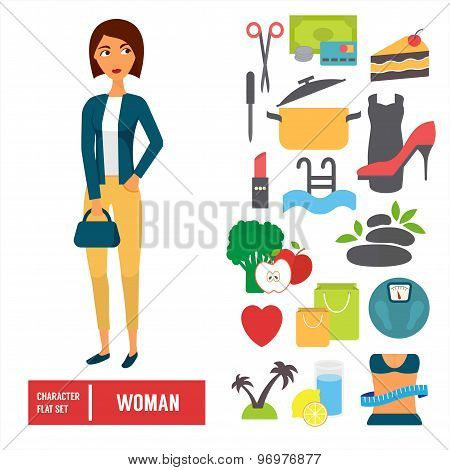 Character set, woman. Casual cloth with icons