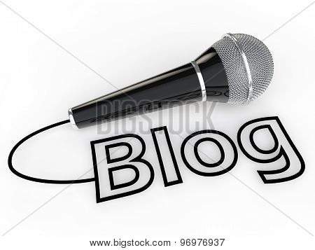3d microphone and blog text