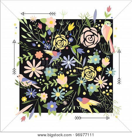 Flowers Graphic Design  for t-shirt, fashion, prints  in vector