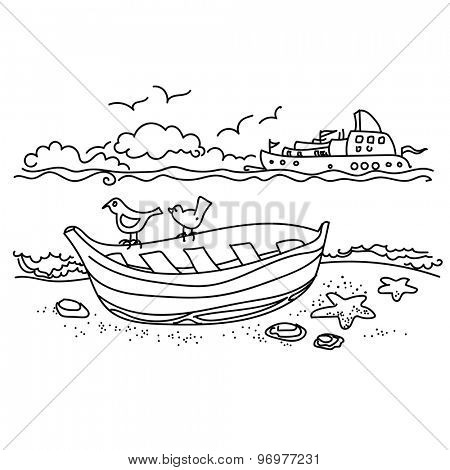 Sailing boat on coast free hand drawing, outline