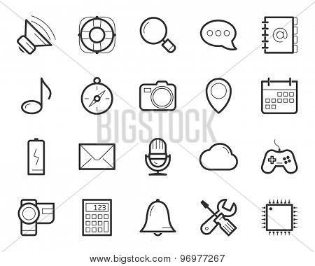 Media and technology icons set