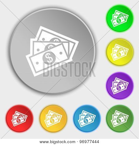 U.s Dollar Icon Sign. Symbol On Eight Flat Buttons. Vector