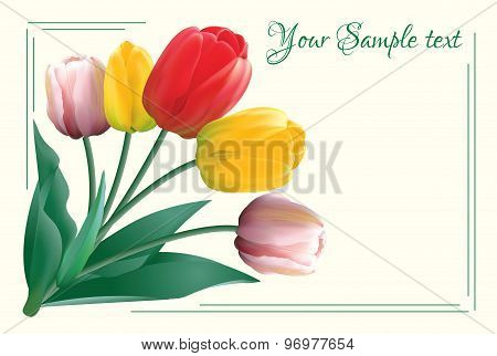 Greeting card with a bouquet of tulips