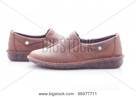 stylish, comfortable, brown moccasins women on a white background