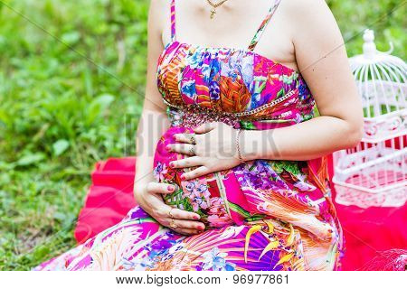 belly of pregnant woman