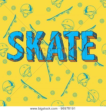Skate board typography t-shirt graphicssportvectors and seamless pattern
