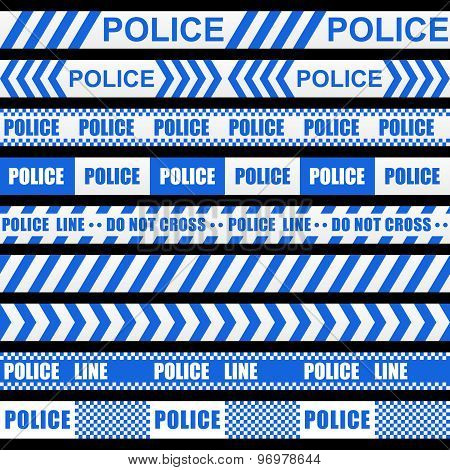 Set of blue police ribbons