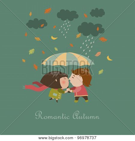 Boy and a girl kissing under umbrella