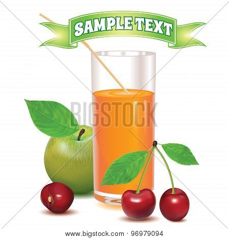 glass for juice from ripe red berries cherries and green apple with leaves