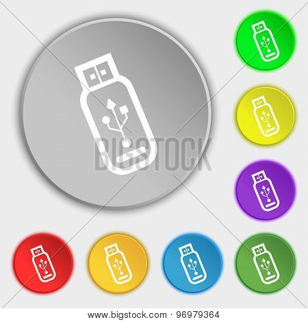 Usb Flash Drive Icon Sign. Symbol On Eight Flat Buttons. Vector