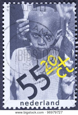 Black African child on a postage stamp