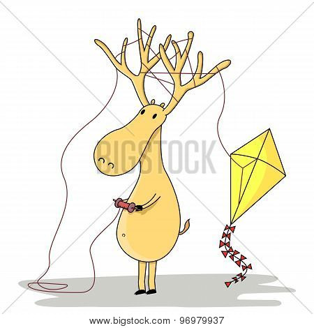 Cartoon stag with kite