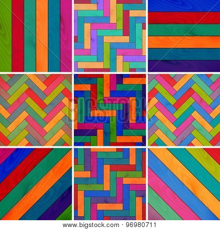 set colorful wooden texture background of parquet. vector illustration eps10