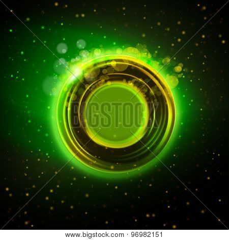 Abstract Green Glowing Ring Background