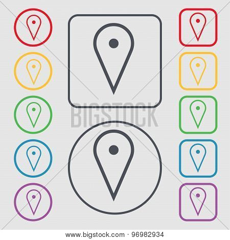 Map Poiner Icon Sign. Symbol On The Round And Square Buttons With Frame. Vector