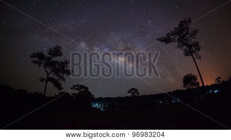 Silhouette of Tree and Milky Way with cloud, Long exposure photograph