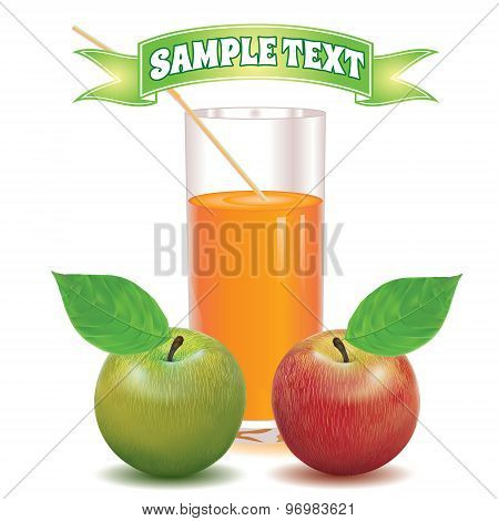 glass for juice from the ripe red and green apple