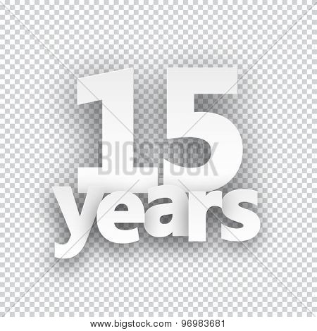 Fifteen years paper sign over cells. Vector illustration.