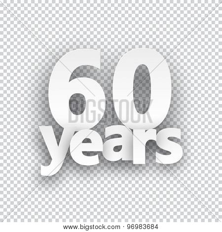 Sixty years paper sign over cells. Vector illustration.