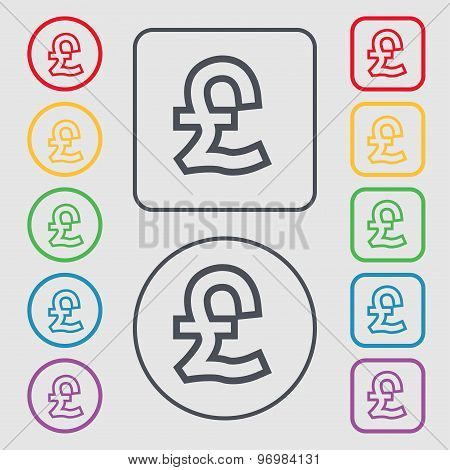 Pound Sterling Icon Sign. Symbol On The Round And Square Buttons With Frame. Vector