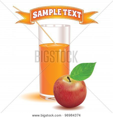 glass for juice from the ripe red apple