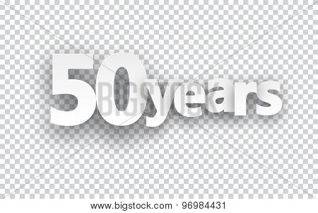 Fifty years paper sign over cells. Vector illustration.
