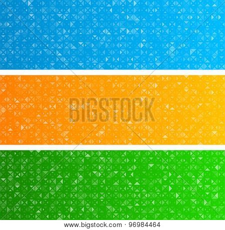 Technology triangles pattern banners. Vector background.
