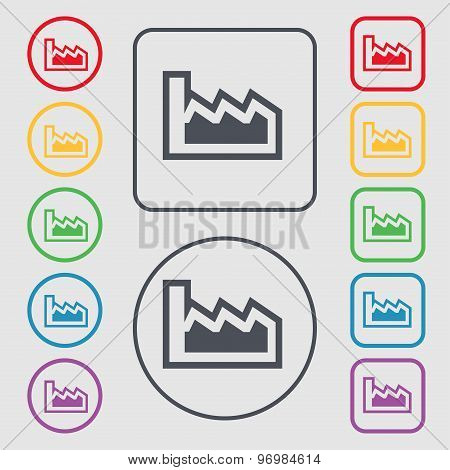 Chart Icon Sign. Symbol On The Round And Square Buttons With Frame. Vector